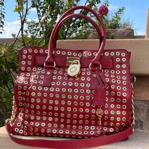 Michael Kors Hamilton Red Leather Tote Grommets